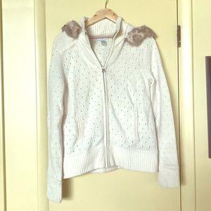 Banana Republic wool sweater with faux fur trim.